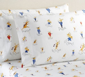 Santa's Reindeer Organic King Sheets Set
