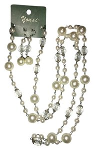 you & i long pearl and crystal bead necklace and earring set