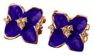 Fashion's Blue & Gold Flower Earrings