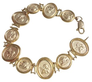 Other 14K Gold 21 Grams Cherub Cameo Italian Panel Link Bracelet