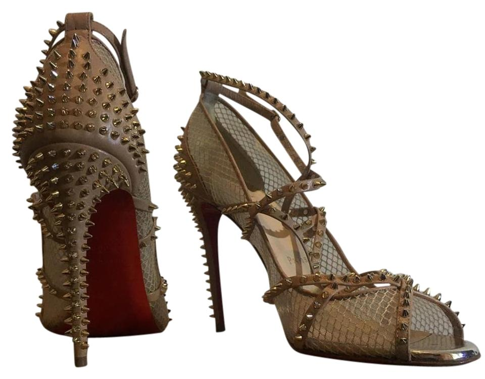 723815d45e4 Christian Louboutin Nude Alarc Spiked Strapoy Mesh Sandals Formal Shoes