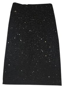 Alice + Olivia Pencil Beaded Evening Skirt Black
