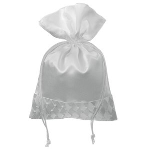 White Wedding Drawstring Bridal Favor Bag With Woven Pearl Accent