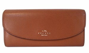 Coach Crossgrain Leather Slim Envelope Wallet Clutch NWT Saddle Brown 54009