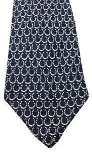 Hermès Hermes Horseshoe Print Navy and White Silk Tie