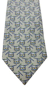 Herms Hermes Drum Print Silk Tie