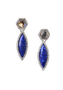 Other Multicolor Navy Blue Stone Statement Earrings