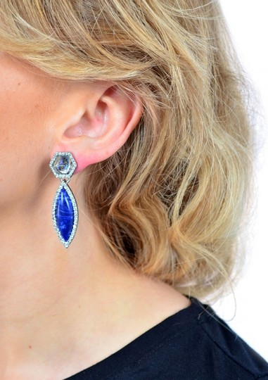Other Multicolor Navy Blue Stone Statement Earrings Image 1