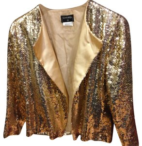 Chanel Vintage Sequined Top Gold