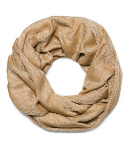 Tory Burch Stacked-'T' Jacquard Infinity Scarf in Camel
