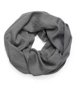 Tory Burch Stacked-'T' Jacquard Infinity Scarf in Heather Gray