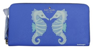 Kate Spade Seahorse Applique Leather Zip Around Full Size Lacey Wallet PWRU5042