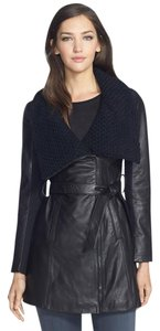Elie Tahari Motorcycle Wool Leather Lambskin Trench Coat