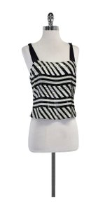 Giorgio Armani Black White Sequin Sleeveless Top