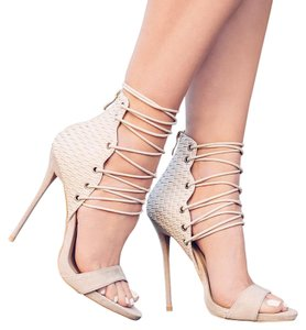 Other Heel Lace Up Open Toe nude Pumps