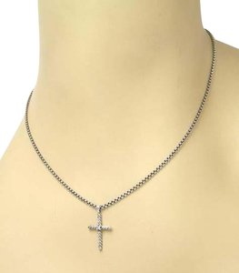 David Yurman David Yurman Diamond Cross Pendant Necklace In Sterling Silver 14k Gold