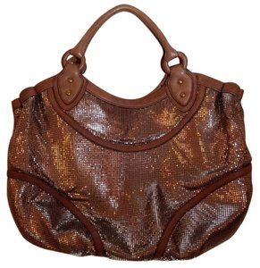 Isabella Fiore Metallic Leather Mesh Hobo Bag