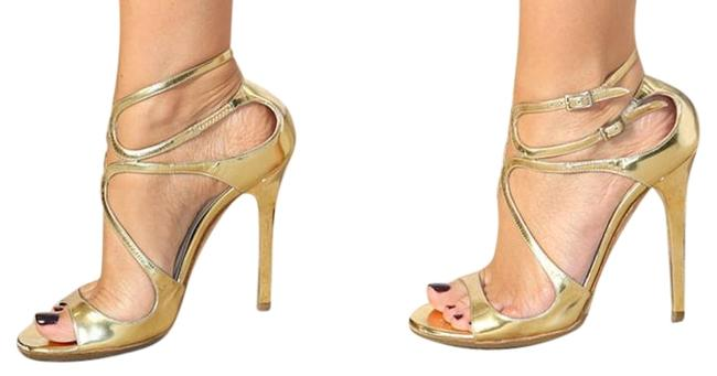Item - Gold Lance Mirror Leather Strappy Sandals Size US 8 Regular (M, B)