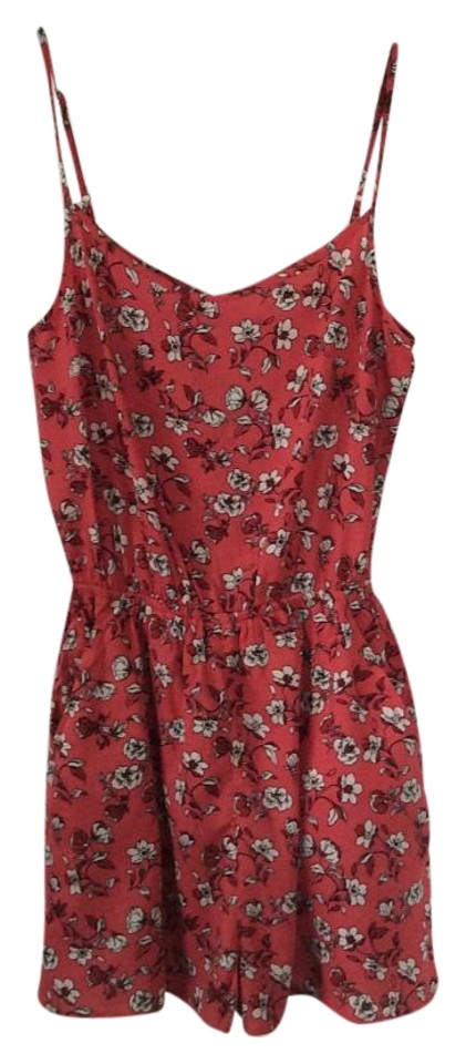 882442639ad Divided by H M Coral with Floral Design Romper Jumpsuit - Tradesy