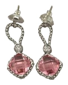 David Yurman David Yurman Sterling Silver Morganite Cushion on Point Diamond Chain Earrings