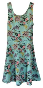 Divided by H&M short dress Seafoam green with floral design on Tradesy
