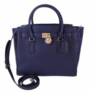 Michael Kors Hamilton Traveler Leather Satchel in Navy