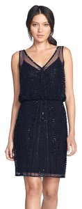 Adrianna Papell Beaded V-neck Sleeveless Dress