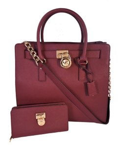 Michael Kors Tea Length Traveler Satchel in Merlot Red