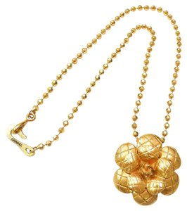 Chanel CHANEL Gold Black CC Logo Large Quilted Camellia Pendant Necklace
