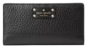 Kate Spade NWT KATE SPADE BAY STREET STACY BLACK LEATHER WALLET CLUTCH BAG $198