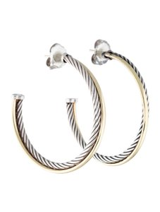 David Yurman Crossover Hoop Earrings in Sterling Silver with 18K Gold