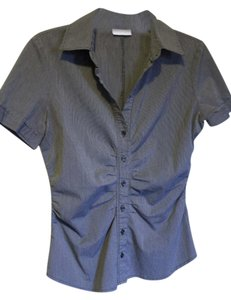 New York & Company Charcoal Short Sleeve Blouse Office Wear Button Down Shirt Gray Pin Stripe