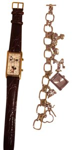 Disney Leather Watch, Stainless Steel Charm Watch