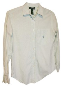 Ralph Lauren Blouse Classic Office Wear Long Sleeves Button Down Shirt Green
