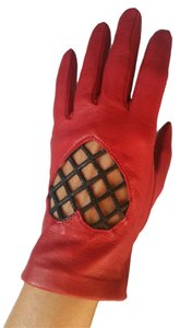Moschino Moschino Red Soft Leather Gloves