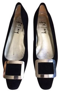 French Sole Fs Ny Large Buckel Made In Spain Black Suede Flats