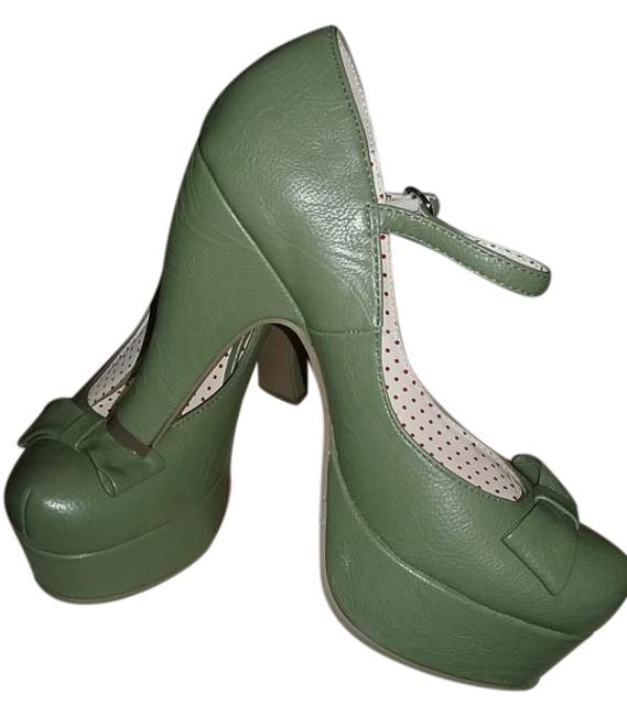 """Item - Moss Green B.a.i.t.:""""But Another Innocent Tale"""" Retro Style Footwear Platforms Size US 7.5 Regular (M, B)"""