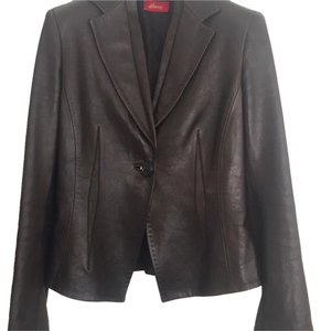 Brioni Treated Shimmer Short Dark brown Leather Jacket