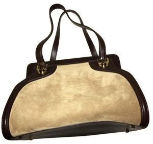 Salvatore Ferragamo Satchel in Tan With Dark Brown Trim
