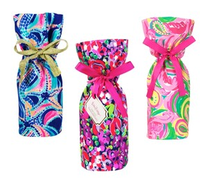 Lilly Pulitzer Lot of 3 Wine Bags Ocean Jewels Wild Confetti Multi All Nighter