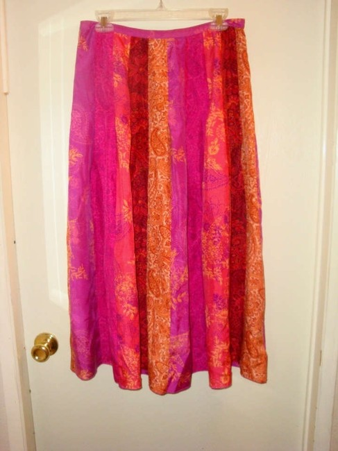 Banana Republic Silk Striped Floral Skirt Pink Yellow & Orange Paisley