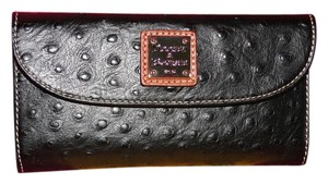 Dooney & Bourke Ostrich Embossed Black Leather Wallet Clutch