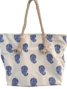 Donna Dixon Extra Large Tote Beach Rope Straps Cotton Blue & White Paisley Beach Bag