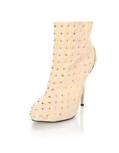 Giuseppe Zanotti Suede Ankle Studed Chrome Heels beige Boots