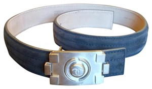 Chanel Authentic Chanel CC Nickeltone Lego Brick Suede Belt
