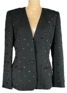 episode Wool Cocktail.one Button Bead Black Blazer