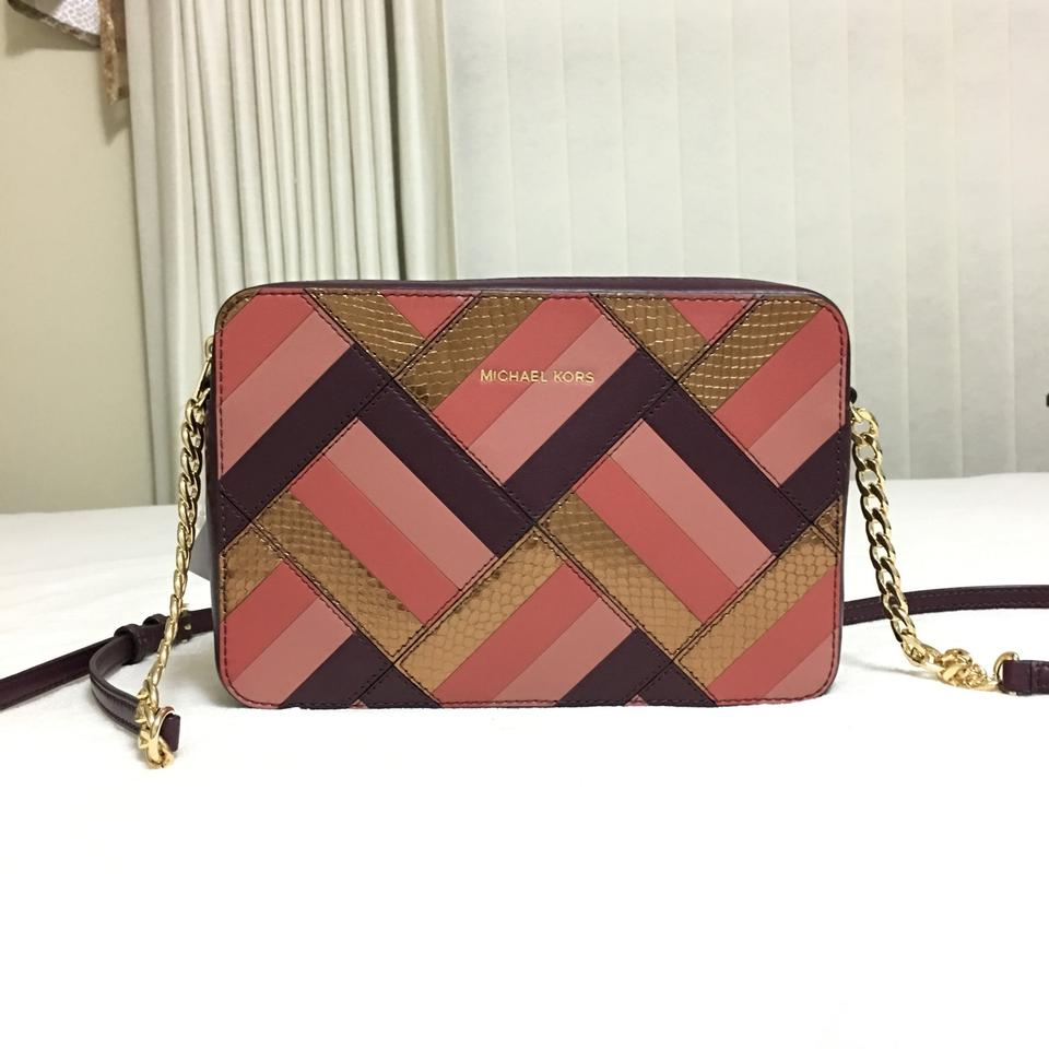 703eb3c90699 MICHAEL Michael Kors Jet Set Travel Marquertry Patchwork Plum Leather Cross  Body Bag