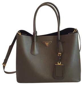 Prada Satchel in Army Green And Gold