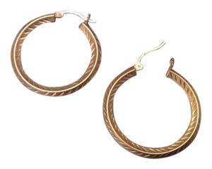 Pretty 14kt Gold Etched Hoops