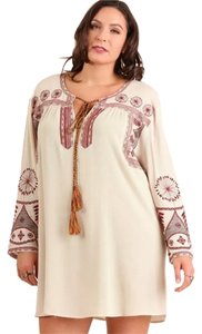 Umgee short dress Taupe Boho Swing Embroidered Cream on Tradesy